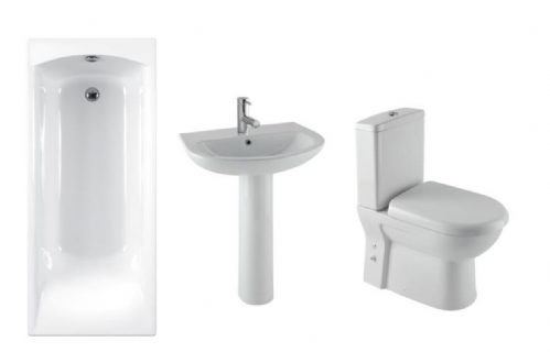 Eastbrook Lisbon Ii Bathroom Suite Inc Carron Delta Bath & Panel - Various Sizes